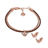 Armani Ladies Rose Gold Plated Necklace And Earring Set