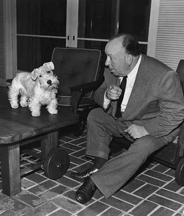 Alfred Hitchcock with his Sealyham terrier Sarah
