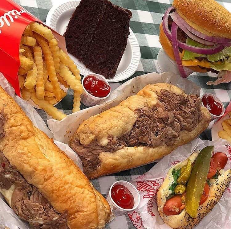 Food from Portillo's Hot Dogs, another wheelchair accessible restaurant in Chicago.