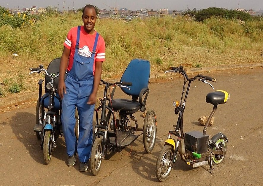 Kenyan innovator Lincoln Wamae is turning trash into electric wheelchairs (Pic Credit: BBC)