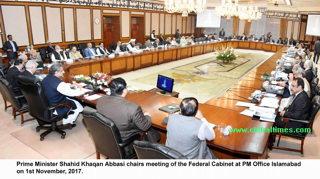 Prime Minister Shahid Khaqan Abbasi Chairs Meeting Of The Federal Cabinet  At PM Office Islamabad On 1st November, 2017