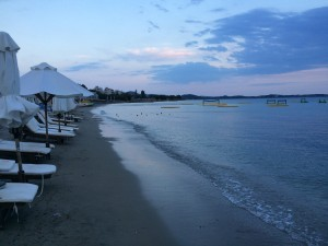 The beach at Voula, just after sunset.