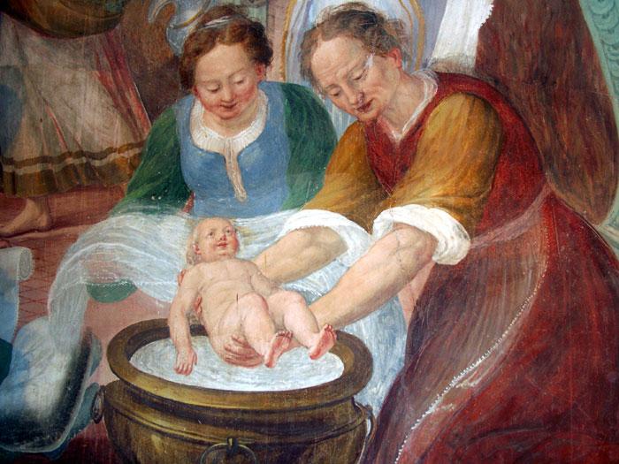immagine raffigurante il particolare di un dipinto che raffigura una levatrice