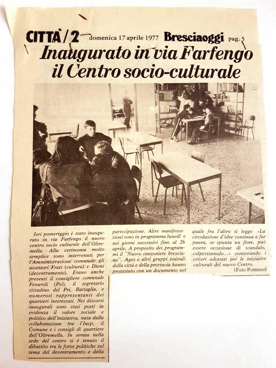 Stralcio di giornale sull'inaugurazione del centro socio-culturale di Via Farfengo
