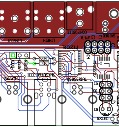 rendered image of the ipod ultradock pcb layout gerber files  [ 2325 x 1950 Pixel ]