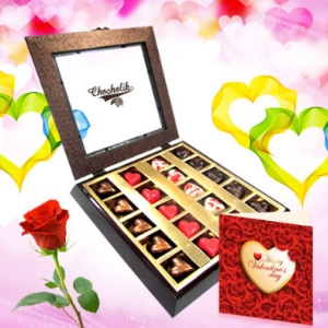 Love Treasure Chocolates with Rose and Love Card