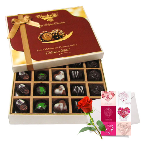 Chocholik 20pc Beautiful Chocolate Box With Love Card And Rose
