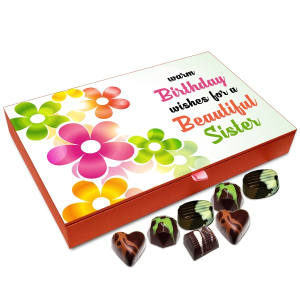 Chocholik Gift Box Warm Birthday Wishes For Beautiful Sister Chocolate 12pc