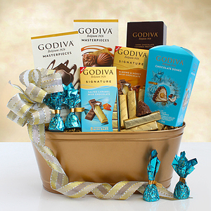 A Golden Tin of Godiva Gifts