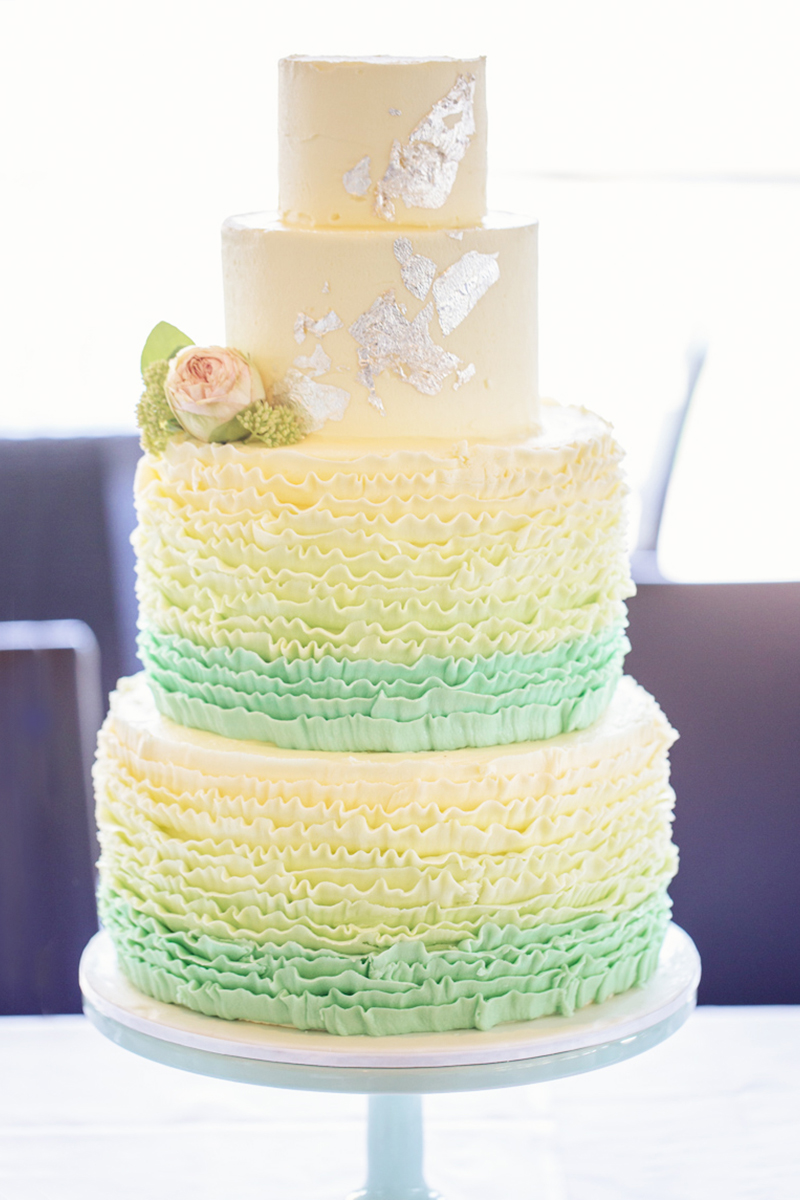 Mint ombre ruffle wedding cake