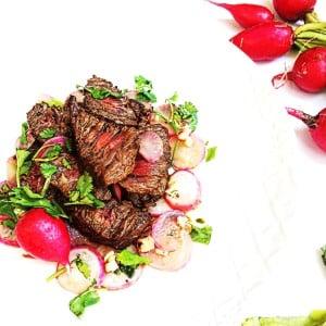 marinated steak and radishes
