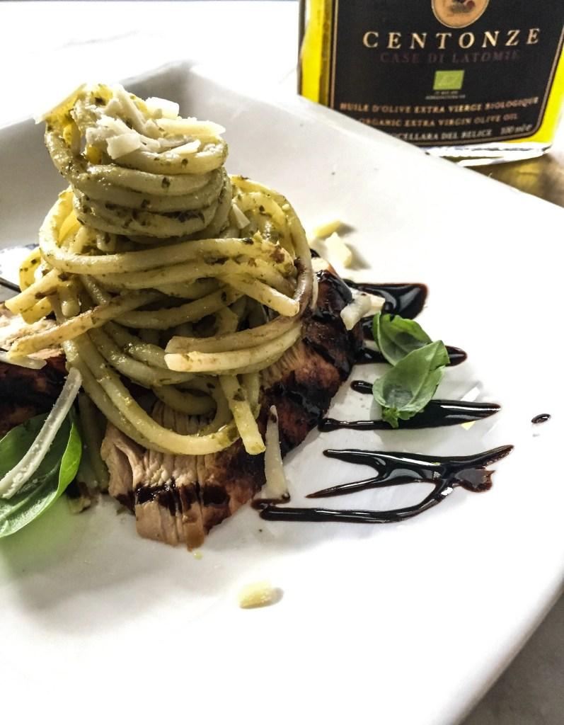Balsamic Chicken Pesto Pasta