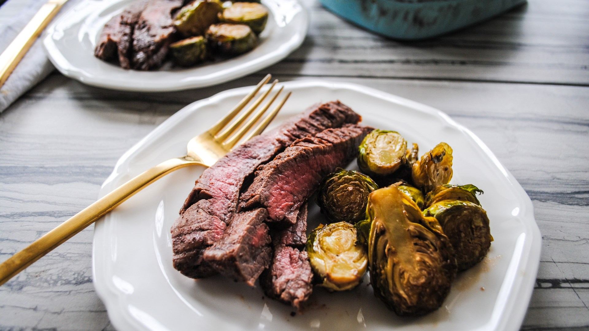 Marinated Flanks and Honey Balsamic Brussels