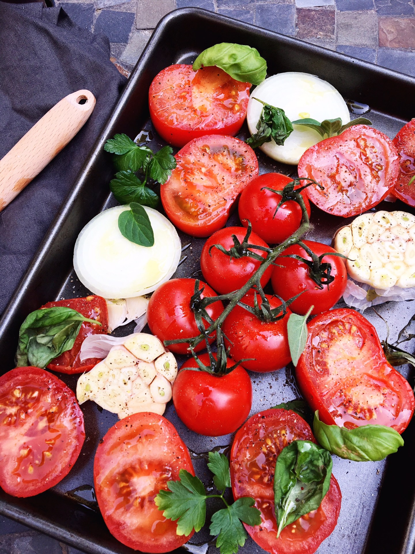Lifestyle Blogger Jenny Meassick of Chocolate and Lace shares her recipe for Roasted Tomatoes, Garlic and Herbs