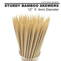 """12"""" Natural Bamboo Skewers for BBQ,Appetiser,Fruit,Cocktail,Kabob,Chocolate Fountain,Grilling,Barbecue,Kitchen,Crafting and Party. Φ=4mm, More Size Choices 6""""/8""""/10""""/14""""/16""""(100 PCS)"""