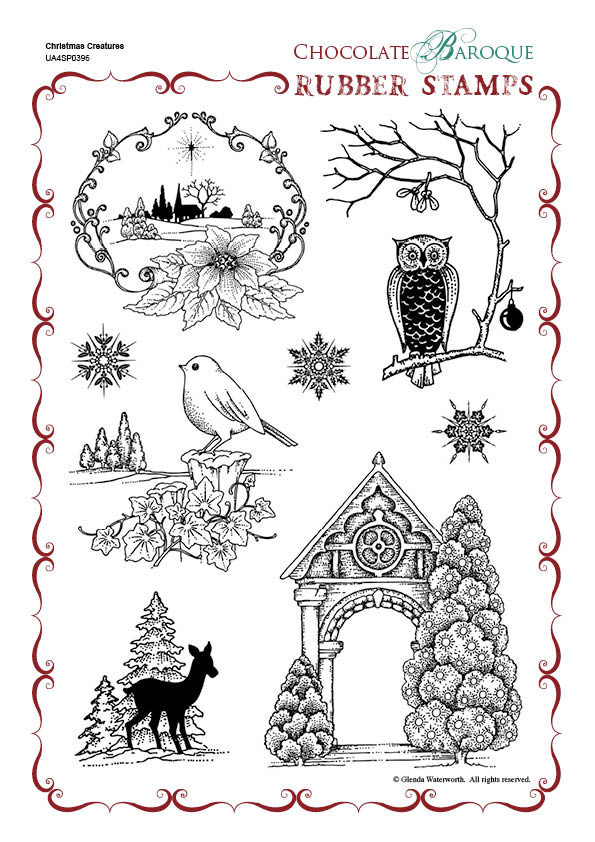 Christmas Creatures Rubber Stamp Sheet A4 Chocolate