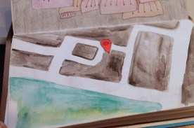 I just made a watercolor of a google map.