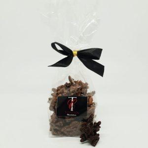 Rochers Suisses 100g. Amandes caramélisés à la fleur de sel de Guérande enrobés de chocolat au lait