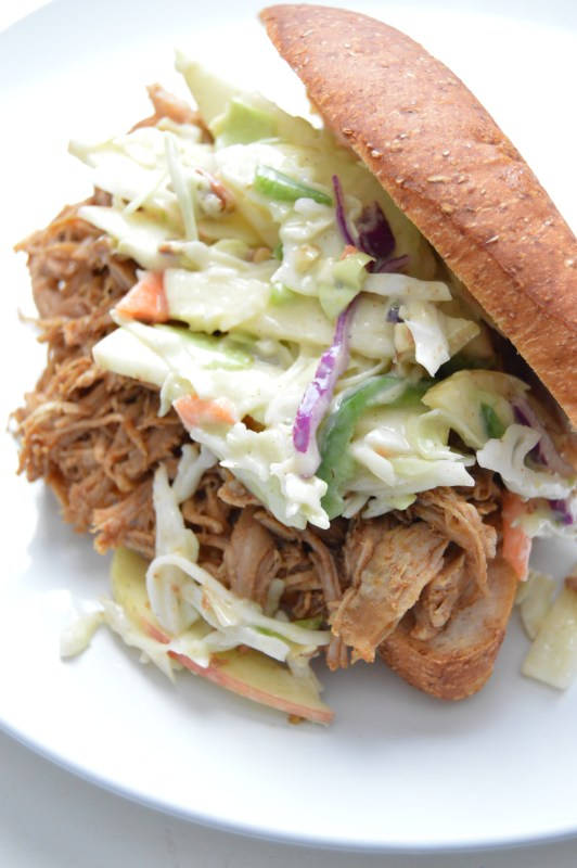 Light Pulled Pork with Apple Jalapeno Slaw