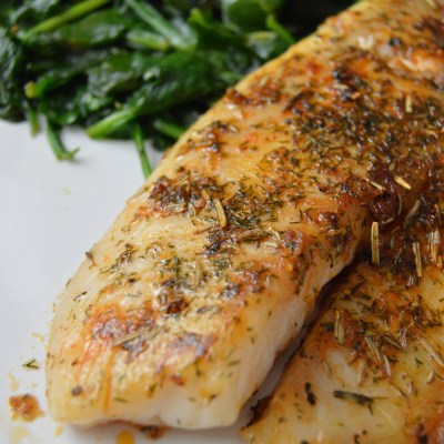 Lemon Rosemary Tilapia with Coconut Lemon Spinach