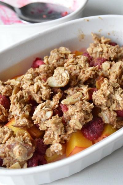 Sugar Free Peach Raspberry Almond Crumble