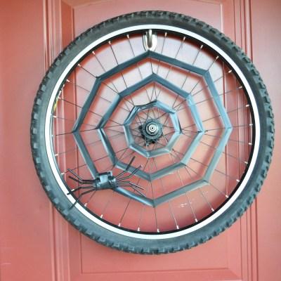 Up-cycled Bike Wheel Halloween Wreath