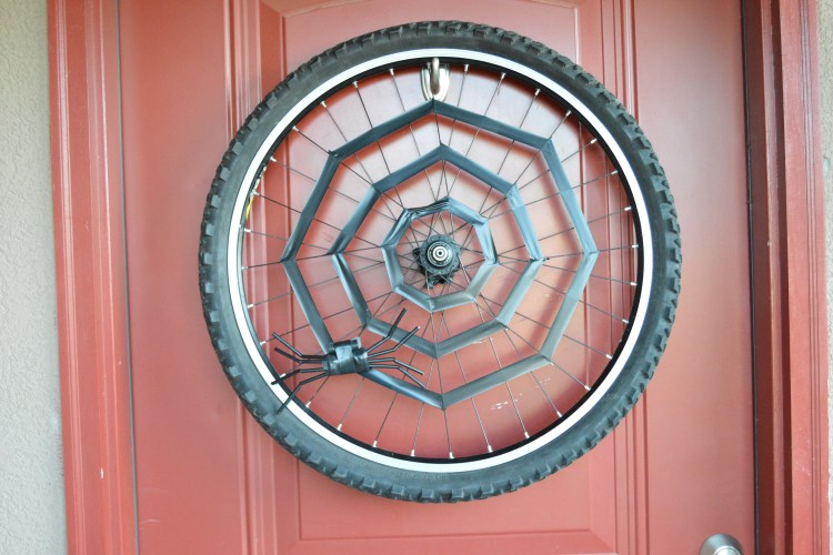 Up-cycled Bike Wheel Halloween Wreath