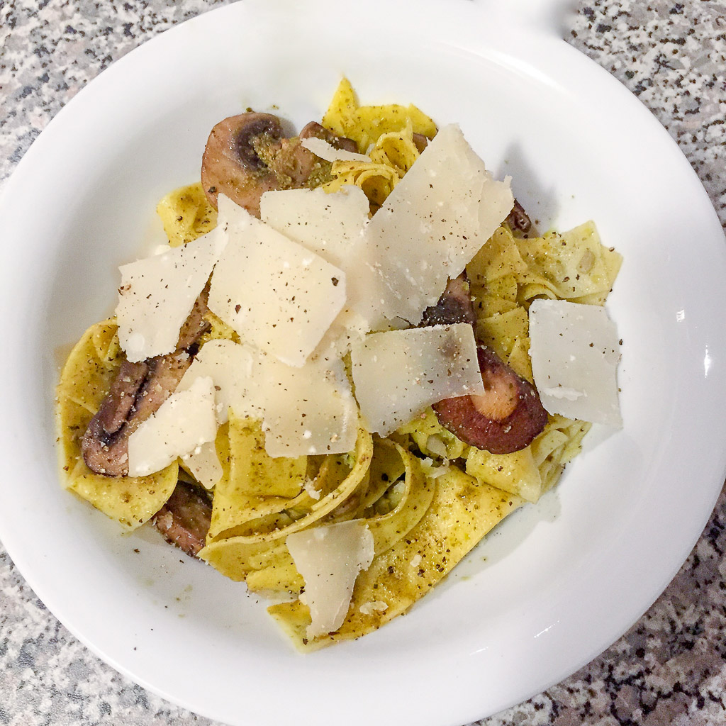 Mushroom Pesto Pappardelle Pasta