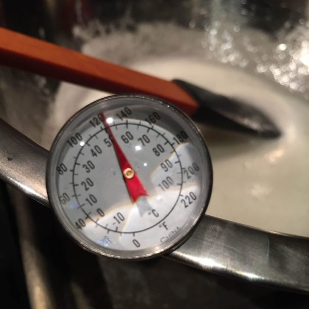 Instant Read Thermometer submerged in the meringue mix - a preparation step in order to make White Chocolate Buttercream
