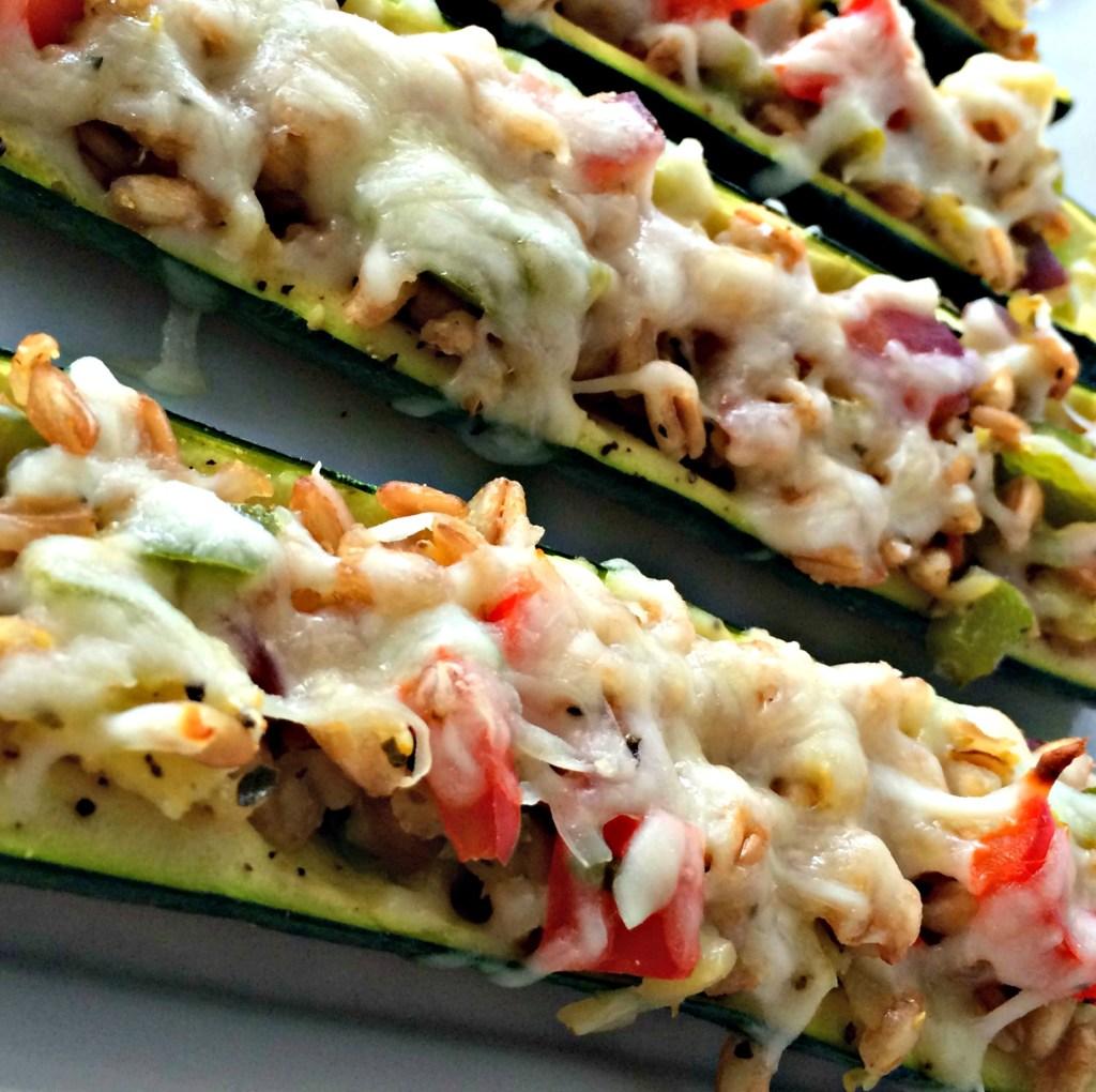 Farro Cheese Zucchini Boats