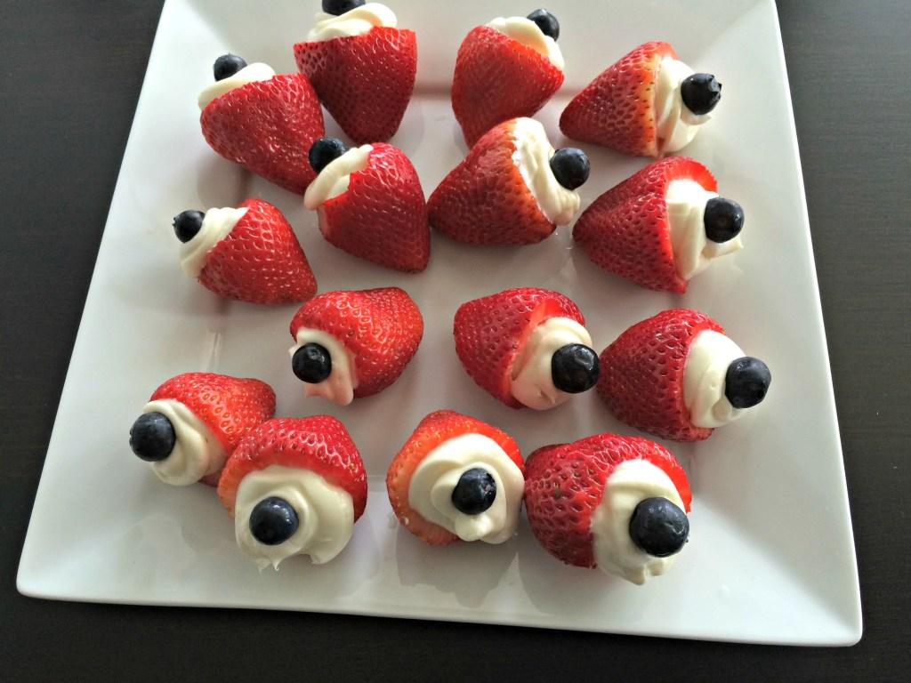 Patriotic Strawberry Cheesecake Bites
