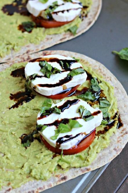 avocado caprese wraps balsamic glaze