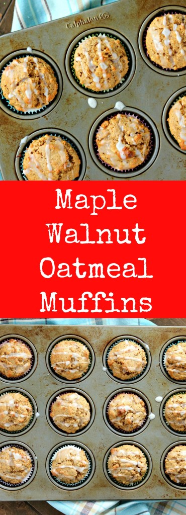maple walnut oatmeal muffins maple glaze