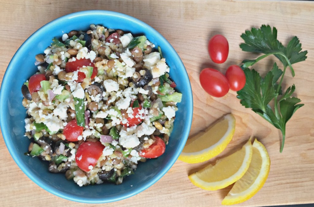 Lentil and Freekeh Salad with Feta Cheese