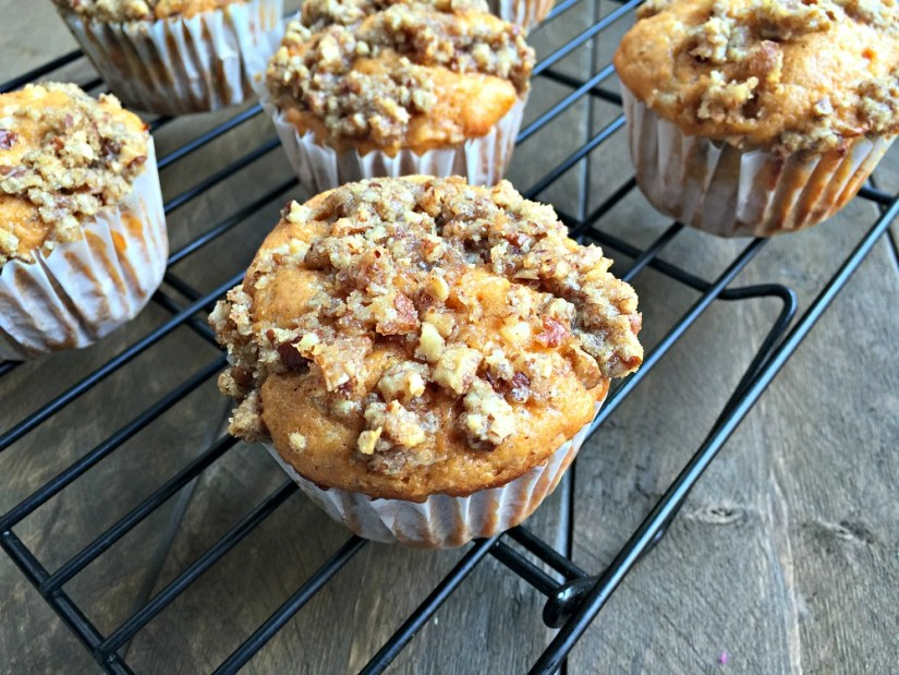 sweet potato muffin topped with pecan crumble