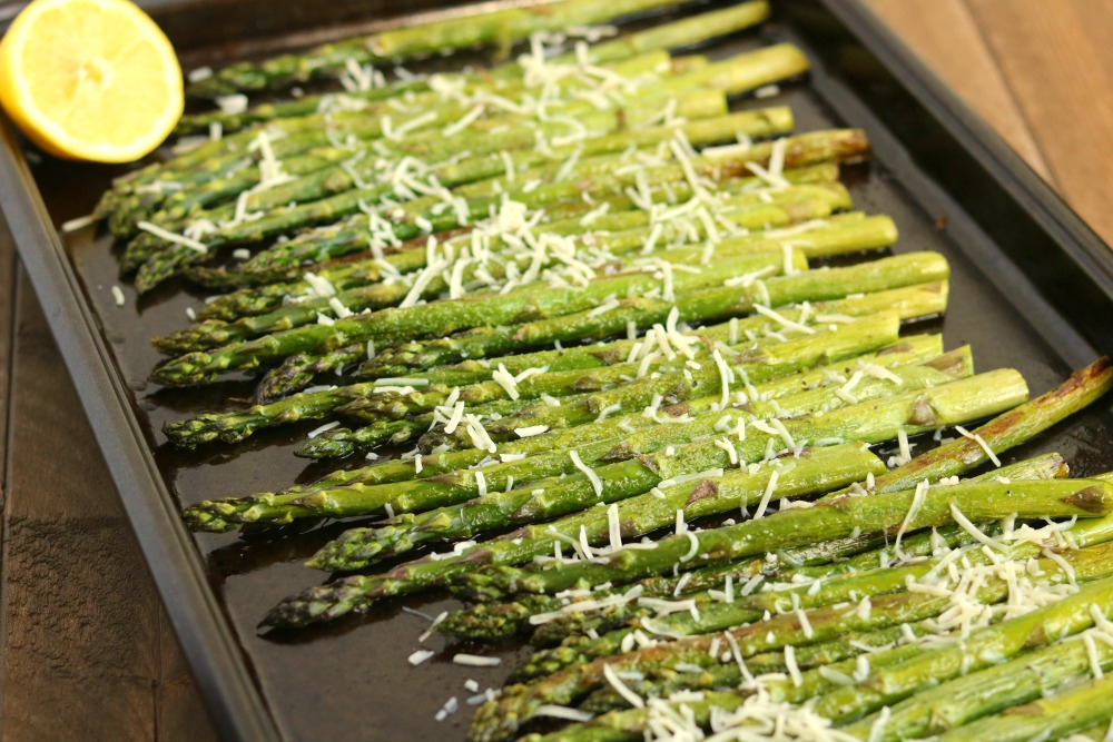 Oven Roasted Asparagus with Garlic Lemon & Asiago Cheese