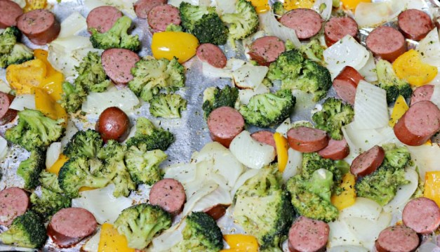 one.pan.turkey.sausage and vegetables