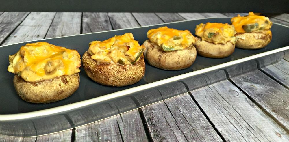 Cheesy cheddar stuffed mushrooms