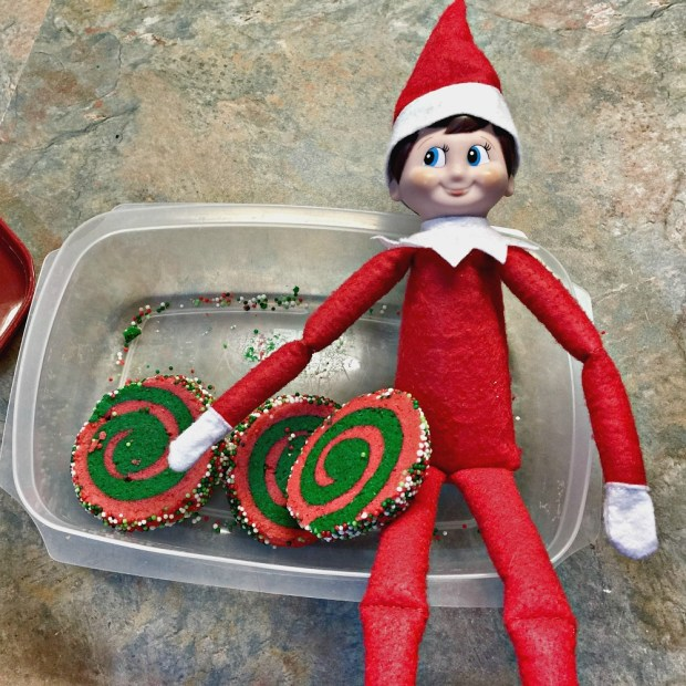 Christmas sugar cookies with Elf on Shelf