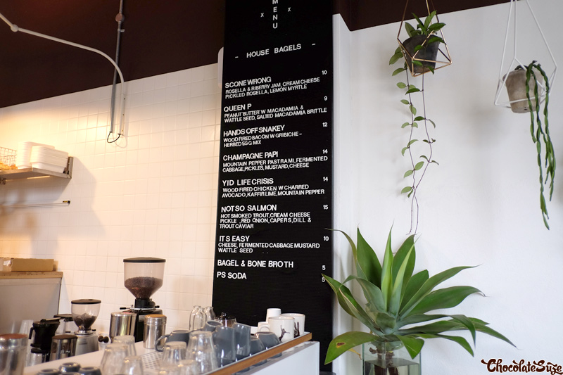 Menu at Smoking Gun Bagels, Woolloomooloo