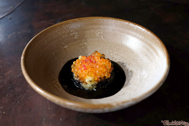 Crushed Yukon Gold Potatoes, Yarra Valley Trout Roe and Black Shellfish Sauce at Vue de monde, Melbourne