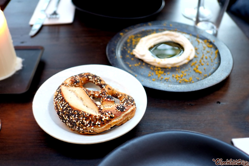 Pretzel with Whipped Bottarga at Broadsheet Restaurant, Waterloo