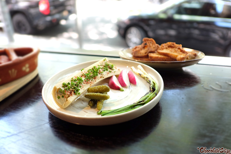Bone marrow butter + scallions + radish at Bibo Wine Bar, Double Bay