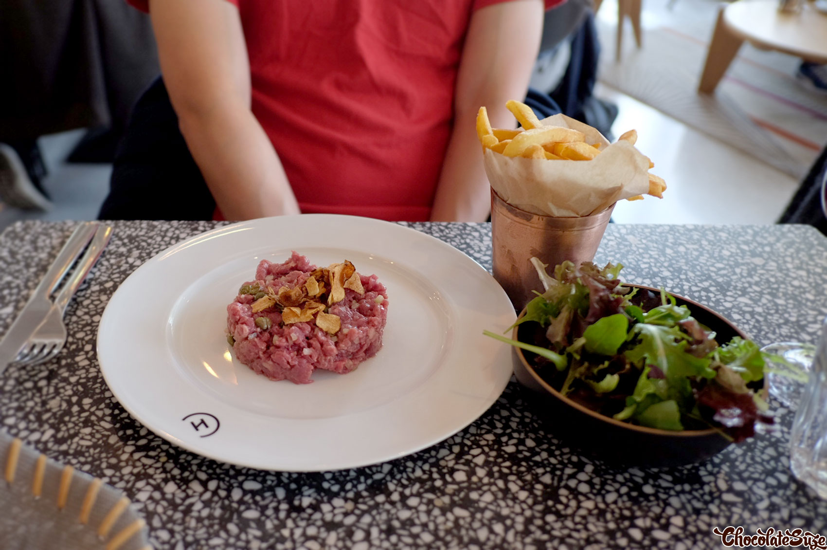 Steak tartare at Champeaux Restaurant, Paris