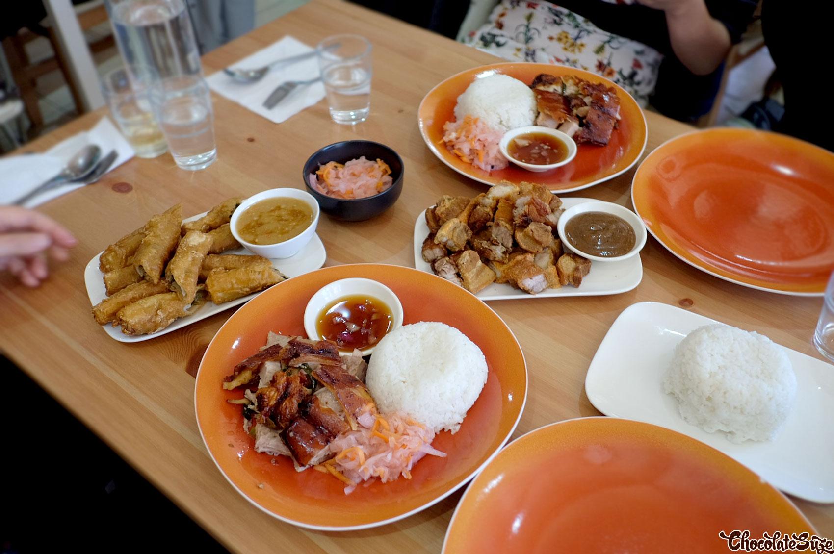 Table of food at Sydney Cebu Lechon, Newtown