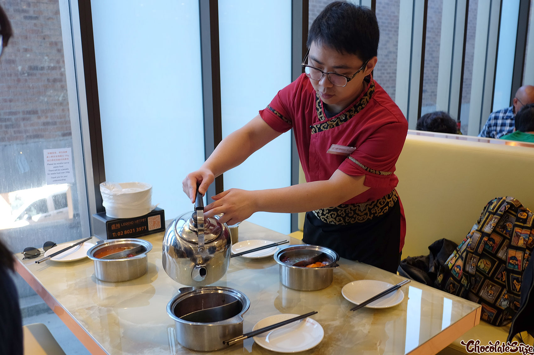Pouring the soup, Legend Hot Pot buffet, Burwood