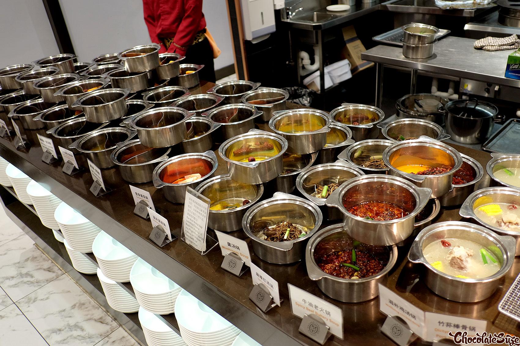 Hot pot base soups, Legend Hot Pot buffet, Burwood