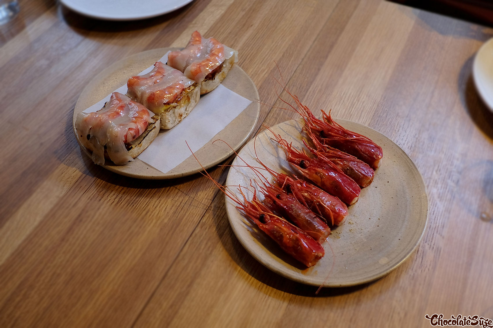 Scarlet prawns w lardo on toast at Poly, Surry Hills