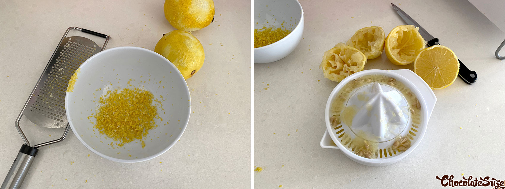 Zest and juice for lemon curd