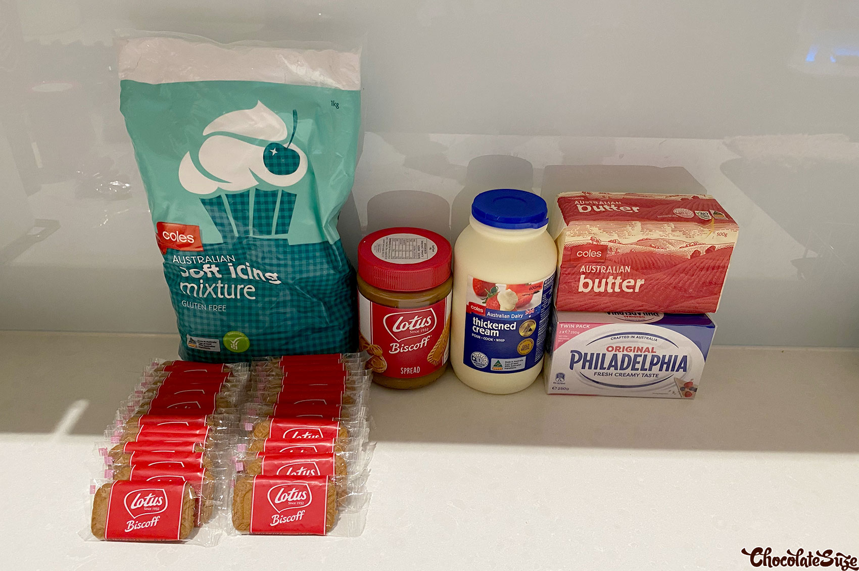 Ingredients for No bake lotus biscoff cheesecake